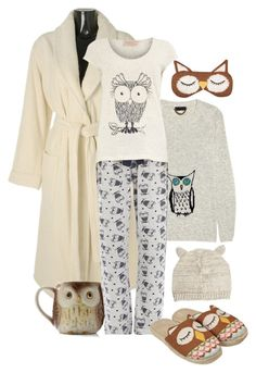 Who Gives a Hoot by sherry7411 on Polyvore featuring polyvore, fashion, style, Burberry, Hamam, Dorothy Perkins, ASOS, Other, Aroma, owl jewelry, bathrobe and smoking slipper