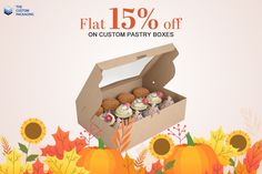 Enjoy Thanksgiving Offer and Get Flat 15% Discount on All Custom Pastry Boxes Orders. With Free Shipping and Free Design Support. For more info: Call: 888-851-0765 Email: support@thecustompackaging.com