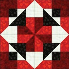 Black & White & Red All Over - Single Quilt Block Instructions $3.15