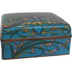 Blue Painted Antique Chinese Cloisonné Box with Peacock and Pond from Antiques of River Oaks on Ruby Lane $150