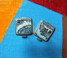 Fordite Cufflinks Oxidized Sterling Silver Cuff by jamesblanchard