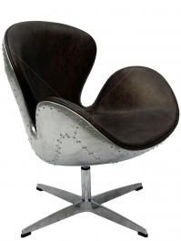 Spitfire Swan Chair by Arne Jacobsen in Vintage Brown Leather and Aluminium Shell