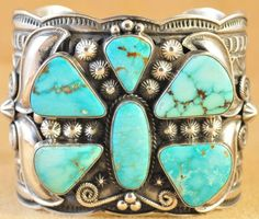 Navajo Sterling Silver Turquoise Mountain Butterfly Cuff Bracelet By Andy Cadman