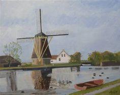 Mill by Schipluiden Holland Painting Original Art, Original Paintings, Impressionism Art, Landscape Paintings, Buy Art, Netherlands, Holland, Cool Art, Saatchi Art