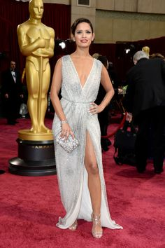 No, no, no. My dear, you have so many deep slits that you would have been better off coming naked.You look like a tart.  Oscars 2014 Red Carpet: All The Dresses At The Academy Awards (PHOTOS, VIDEOS)