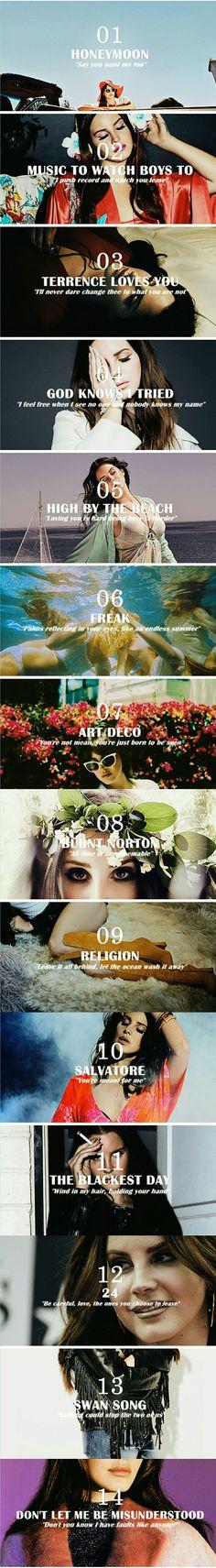 Lana Del Rey #LDR (songs and lyrics from Honeymoon)