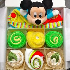 Colourful Baby Neutral Mouse Clothing Cupcake Gift Set in 0-3 3-6 or 6-12