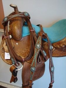 BLUE Western PLEASURE SHOW horse SADDLE BARREL SHOWMAN TACK SET