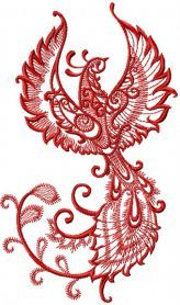 Firebird machine embroidery design. <--Tiny, but beautifully designed. I love the tail especially