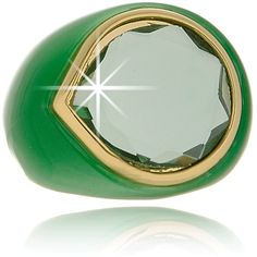 Ring by Isharya''s Bollywood Glam Collection. The CANDY MIRROR Green Resin Ring is made of resin in green color and is decorated with a green crystal and gold plated details. Isharya, Resin Ring, Riveting, Gemstone Rings, Luxury Fashion, Gemstones, Mirror, Polyvore, Green