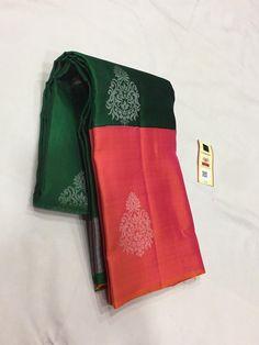 Buy green an dpink color combination pure kanchi pattu sarees with blouse 8897195985 Cotton Saree Designs, Saree Tassels Designs, Pattu Saree Blouse Designs, Saree Blouse Patterns, Bridal Blouse Designs, Kanjivaram Sarees Silk, Kota Silk Saree, Indian Silk Sarees, Soft Silk Sarees