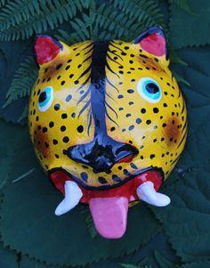 Mexican Folk Art Coconut Jaguar / Tiger hanging Mask Handmade in Guerrero Mexico #handmade