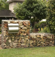 GardenDrum CStewart sandstone gabion wall with steel letterbox