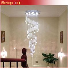 117.32$  Watch here - http://aliitc.worldwells.pw/go.php?t=32677950138 - ZX Modern LED Crystal Screw Chandelier Contracted Stars Loft Spiral Staircase Droplight Lustre GU10 Villa Lamp Free Shipping 117.32$