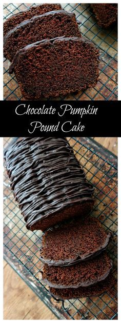 Chocolate Pumpkin Pound Cake recipe-rich, moist with just a subtle hint of pumpkin flavor, then drizzled with dark chocolate ganache! (Made with homemade pumpkin purée - also didn't have cream so used milk/butter substitute). Delicious Desserts, Dessert Recipes, Yummy Food, Paleo Dessert, Recipes Dinner, Food Cakes, Cupcake Cakes, Muffin Cupcake, Fall Recipes
