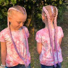 """𝔅𝔯𝔞𝔦𝔡𝔢𝔡 𝔅𝔞𝔟𝔢𝔰 on Instagram: """"Beautiful pink to purple ombré extensions with hair charms and hair glitter 💖 . . . .  #braidedbabes #sydneybraids #boxbraids #prettybraids…"""" Easy Hairstyles For Kids, Kids Braided Hairstyles, Girl Hairstyles, Purple Hair Extensions, Braid In Hair Extensions, Braids For Kids, Girls Braids, Becky G Hair, Festival Braid"""