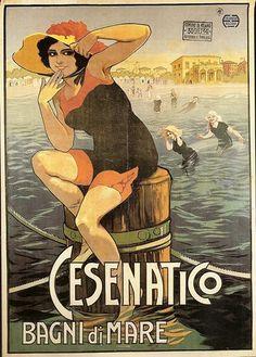 Vintage Poster from Cesenatico, Emilia-Romagna, Italy Vintage Beach Posters, Vintage Italian Posters, Vintage Advertising Posters, Vintage Advertisements, Vintage Ads, Art Nouveau Poster, Art Deco Posters, Retro Poster, Poster S