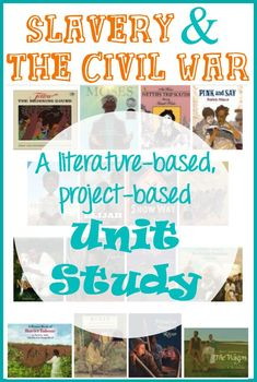 "Integrated Lesson Planning: (Literacy and History) This slavery and Civil War unit is rich in living literature. It also offers several fun project ideas so your children can ""show what they know"" at the end of the unit. Civil War Activities, History Activities, Teaching History, Teaching Resources, Homeschooling Resources, Teaching Ideas, Homeschool Curriculum, Book Activities, 4th Grade Social Studies"
