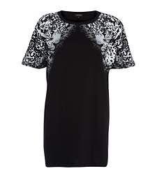 Black leopard print oversized t-shirt dress $40.00