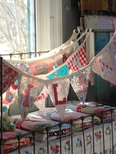 Name banner out of fabric? Good idea as Xmas presents for the kids room