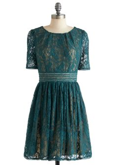 This vibrant teal crocheted lace dress features a beige lining and sheer lace sleeves. This cotton-blend dress is crafted with a gently pleated skirt, scalloped edges, and an exposed back zipper. Fully lined. Modern Vintage Dress, Retro Vintage Dresses, Vintage Theme, Retro Dress, Sea Dress, Dress Up, Crochet Lace Dress, Crocheted Lace, Fashion Colours