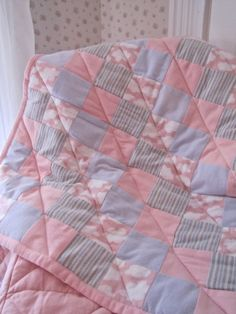 "Handmade baby quilt from recycled flannelette pyjamas and bed sheets. Pink and mauve 26"" x 30"""