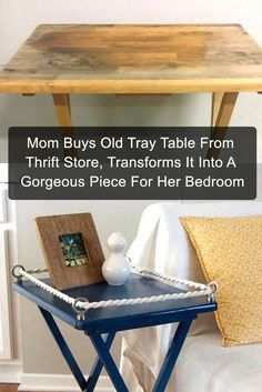 Repurposed furniture - Mom Buys Old Tray Table From Thrift Store, Transforms It Into A Gorgeous Piece For Her Bedroom Old Furniture, Repurposed Furniture, Furniture Projects, Furniture Makeover, Wood Projects, Painted Furniture, Bedroom Furniture, Furniture Stores, Cabin Furniture
