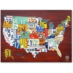 trademark fine art license plate map usa canvas art by design turnpike size