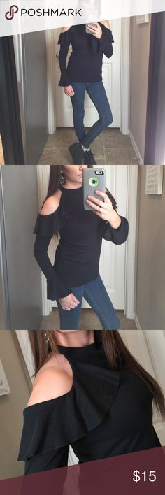 """Boohoo black cold shoulder ruffle dressy top New S Boohoo- New without tags- Has been washed- size 4 XS/S- 15"""" underarm to underarm- 24"""" top to bottom- 95% Poly 5% Elastine- I do next day shipping Monday-Friday Boohoo Tops Blouses"""