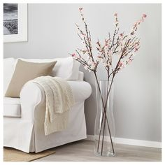 IKEA SMYCKA artificial flower The stem can be shortened by means of cutting pliers. Tall Vase Decor, Floor Vase Decor, Tall Floor Vases, Vases Decor, Cherry Blossom Bedroom, Cherry Blossom Decor, Cherry Blossoms, Cherry Blossom Centerpiece, Cherry Flower