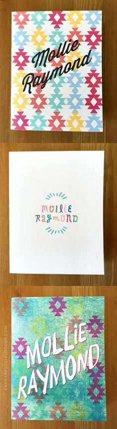 We've got bunches of new products coming to our shop over the next week... to start we have three new personalized note sets! Super fun for all ages. Customize these with your names, business name or short phrase!
