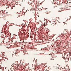 "The work of Jean Baptiste Huet came to be known as ""Toiles de Jouy."" These French fabric designs are known for their monochromatic coloring and playful scenes."