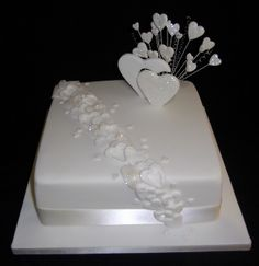 ivory with our cake topper in the corner instead of hearts