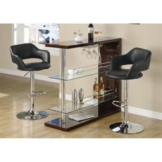 This cool contemporary bar chair will be a stylish addition to your casual dining and entertainment area. The plush curved stool back and seat is covered in black leather-look fabric to complement your taste. Black Bar Stools, Cool Bar Stools, Metal Bar Stools, Glass Shelves In Bathroom, Floating Glass Shelves, Bar Stools Walmart, Metal Accent Table, Counter Height Bar Stools, Contemporary Bar