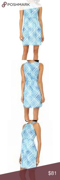 Women's Abstract-Printed Sheath Dress Color: Blues Size Type: Regular Size (Women's): 10 Lined: Yes Sleeve Style: Sleeveless Occasion: Party/Cocktail Style: Sheath Dress Look: Summer Dress Length: Short Material: 100% Polyester Zipper: Back Zipper [5312-3303] Shoshanna Dresses