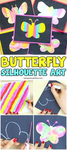 Butterfly silhouette art super fun Spring craft idea for kids. #craftsforkids #artideasforkids #butterflycrafts