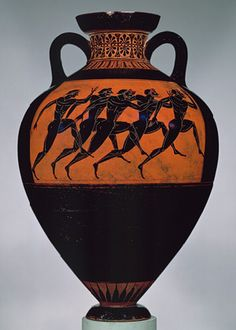 Panathenaic amphora, ca. 530 b.c.; Archaic  Attributed to the Euphiletos Painter  Greek, Attic  Terracotta