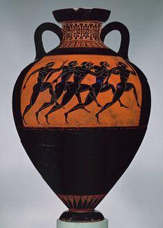 Panathenaic amphora, ca. 530 b.c.; Archaic  Attributed to the Euphiletos Painter  Greek, Attic  Terracotta