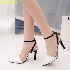 HEVXM 2017 new autumn women's fashion buckle with stripes wild high-heeled boots women sexy nightclubs OL work high heels pumps