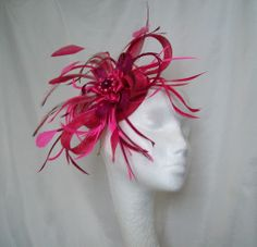 Magenta sinamay hat | This 'Shades of Pink Athena' fascinator mini hat is made to order only ...