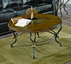 Homelegance 5553-01 Copeland Round Cocktail Coffee Table, Rich Warm Tobacco