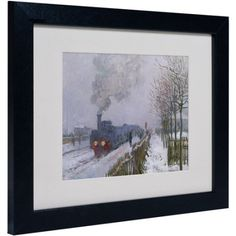 Trademark Fine Art Train In the Snow Matted Framed Canvas Art by Claude Monet, Size: 11 x 14, Multicolor