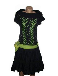 Crochet Dress, Black Dress, Cotton Dress, Fall Fashion, Boho, Women Dress, OOAK. $130.00, via Etsy.