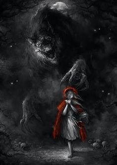 Little Red Riding Hood Creepy - Bing images Arte Horror, Fantasy Kunst, Fantasy Art, Red Ridding Hood, Red Riding Hood Wolf, Werewolf Art, Big Bad Wolf, Fantasy Creatures, Mythical Creatures