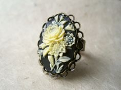 Vintage Cameo Ring, Adjustable Ring, Antique Brass Ring, Ivory Rose Cameo, Black Cameo, Large Cocktail Ring, Resin Jewelry via Etsy