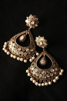 pretty Indian traditional earrings, silver with pearl drops