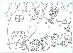 RUKAVIČKA Colouring Pages, Coloring Sheets, Coloring Books, Felt Crafts, Diy And Crafts, Winter Crafts For Kids, Too Cool For School, Toddler Crafts, In Kindergarten