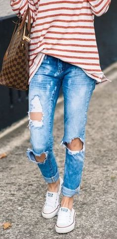 cute casual street style outfit: striped top + bag + ripped jeans + converse sneakers