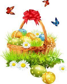 Easter eggs in an Easter basket clip art Easter Holidays, Christmas Holidays, Christmas Ornaments, Easter Egg Basket, Easter Eggs, Easter Backgrounds, Easter Pictures, Easter Flowers, Easter Parade