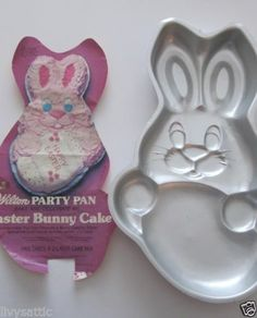 "VINTAGE 1979 Wilton Cake Pan Easter Bunny Rabbit- very cute ♥ I'd give him coconut for ""fur"""